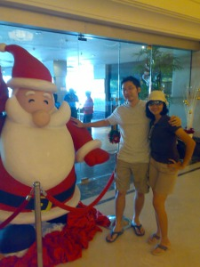 Kinabalu trip - Promenade Hotel - Christmas decoration (with Febe)