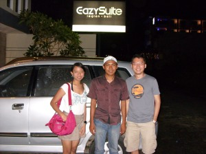 Bali trip - in front of Eazy Suite Legian Bali Hotel - with Kadek