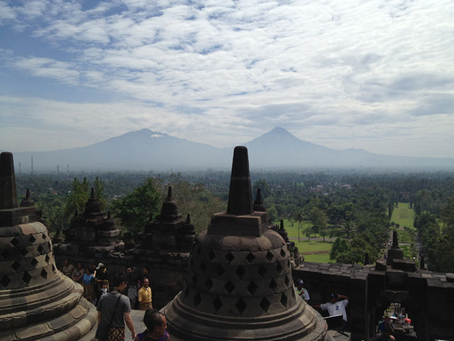 Jogja Trip - Candi Borobudur - Mt. Merapi & Merbabu at the background