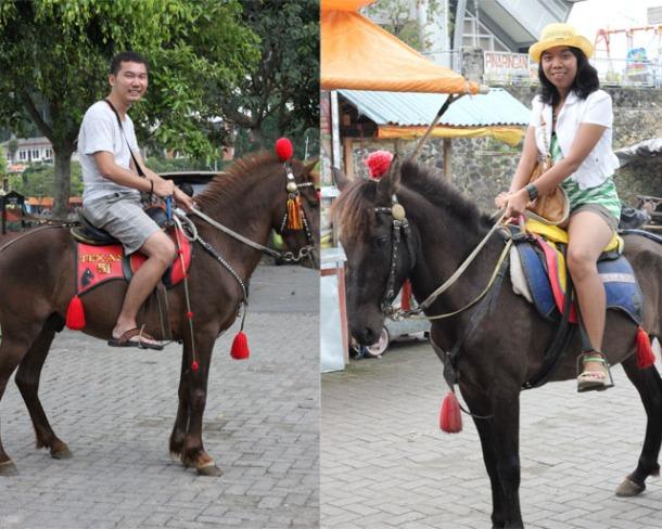 Solo trip - Telaga Sarangan - Me & Sinthya riding a horse