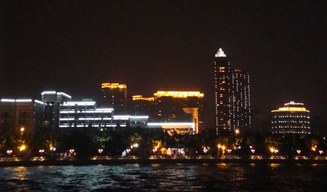 China trip - Guangzhou - Pearl River Night Cruise - Office buildings