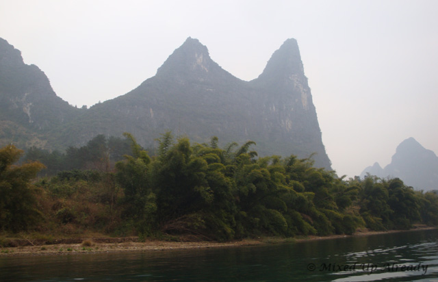 China trip - Guilin - Yang Di River (Li River) Cruise - A hill looks like goat horn