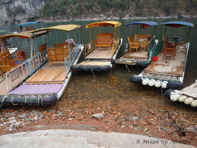 China trip - Guilin - Yang Di River (Li River) Cruise - The plastic bamboo boat