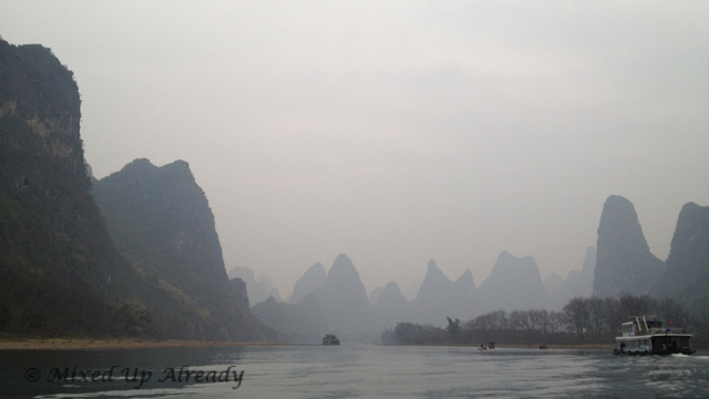 China trip - Guilin - Yang Di River (Li River) Cruise - The view that was used in the cigarette pack
