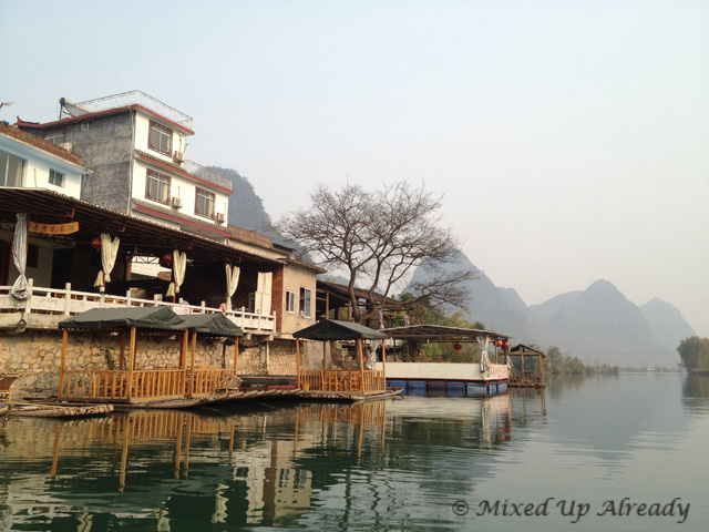 China trip - Guilin - Yulong (Yu Long) River Cruise - houses beside the river
