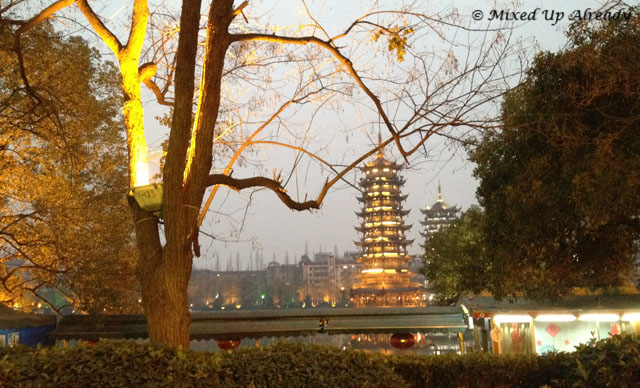 China trip - Guilin - The Sun and Moon Pagoda on Banyan Lake (Ronghu Lake)