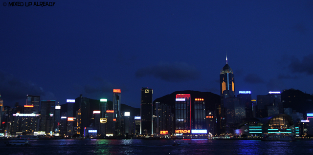 Hong Kong trip - Victoria Harbor - Skyscrapper in Hong Kong Island in The Evening