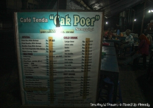 Senggigi - Cafe Tenda Cak Poer - The Menu