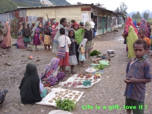 Life is a gift, love it! - Traditional Market in Obano, Papua