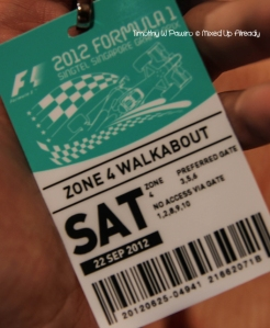 Formula 1 Singapore Grand Prix 2012 - Pass for Zone 4 Walkabout