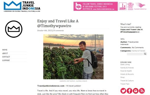 Travel Junkie Indonesia - Enjoy and Travel Like a Timothy W Pawiro